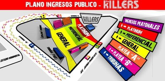 Mapa The Killers en Lima