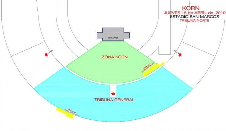 Mapa zonas Korn en Lima KORN EN LIMA: entradas a la venta