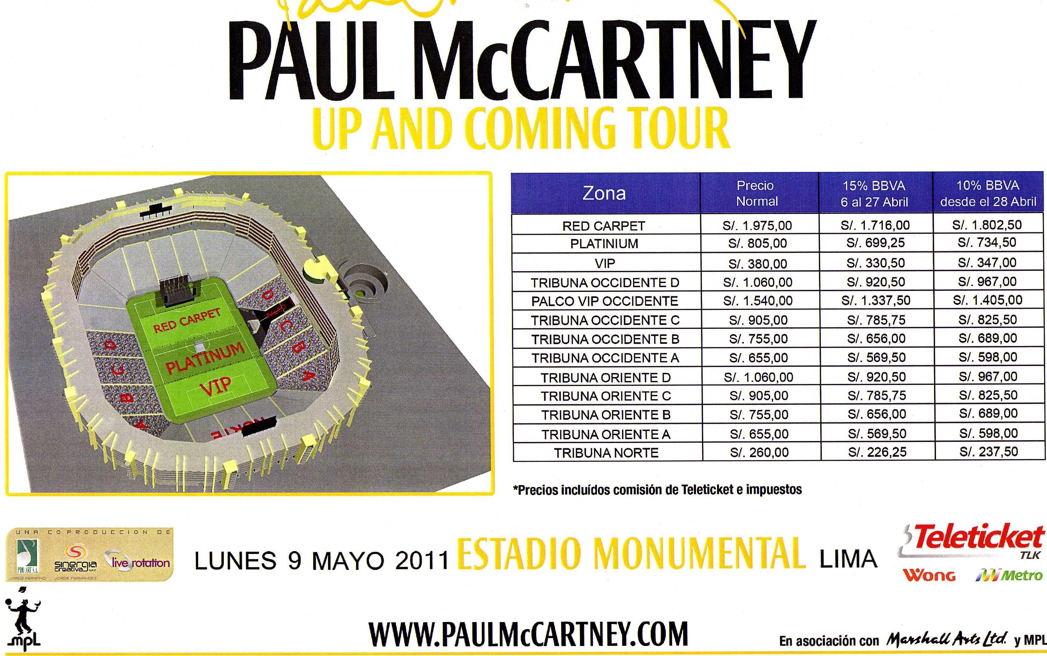 Paul mccartney en lima precios de entradas conciertos per for Puerta 9 del estadio nacional de lima