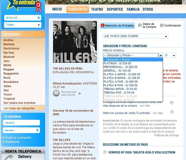 Precios The Killers en Lima 24072009