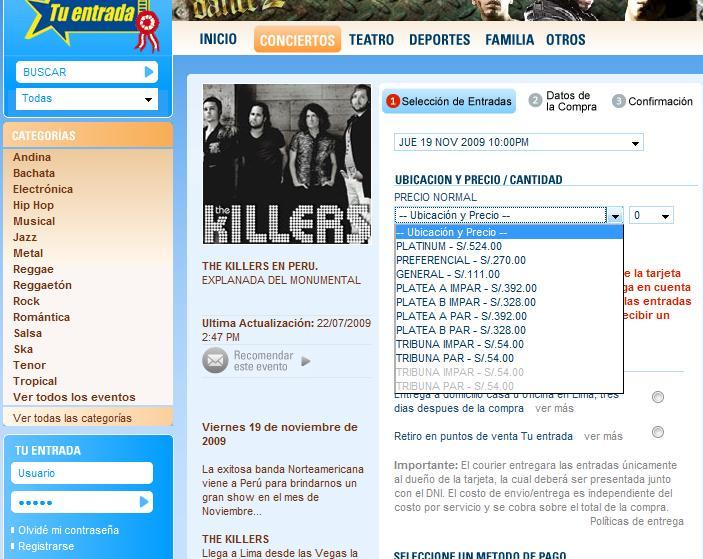 Precios The Killers en Lima