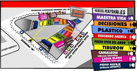 Mapa de zonas Ruben Blades en Lima