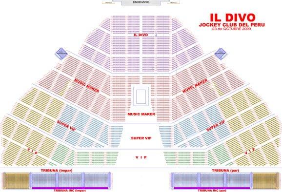Mapa zonas Il Divo en Lima precios entradas